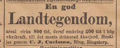 Annons i Dagens Nyheter 1894-06-25